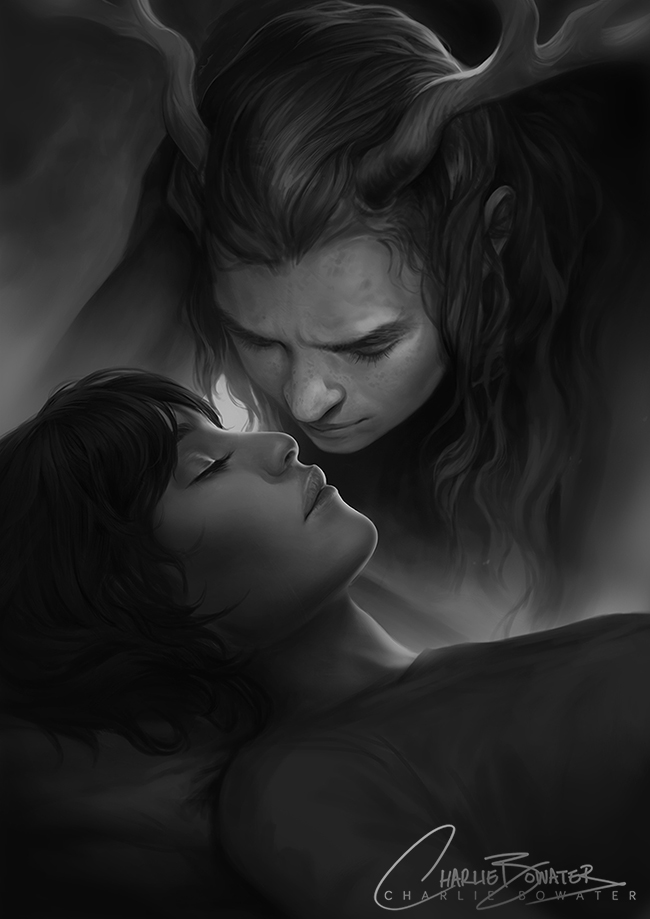 Charlie_Bowater_digital_painting_illustration_kiss_blackandwhite