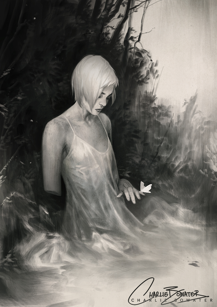 Charlie_Bowater_digital_painting_illustration_girl_white_butterfly