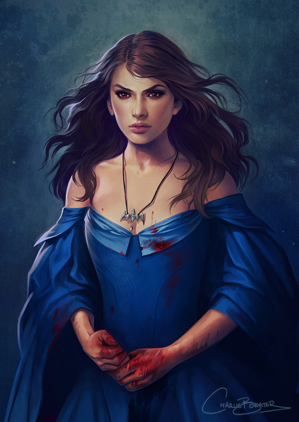 Charlie_Bowater_digital_painting_illustration_girl_dress_blood