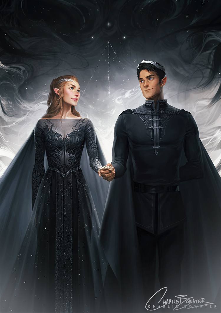 Charlie_Bowater_digital_painting_illustration_couple_silver_royal_elves