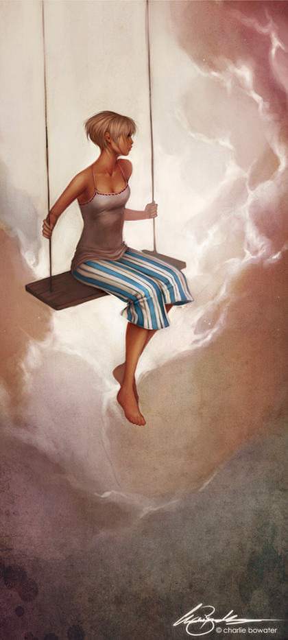 Charlie_Bowater_digital_painting_illustration_girl_clouds_swing