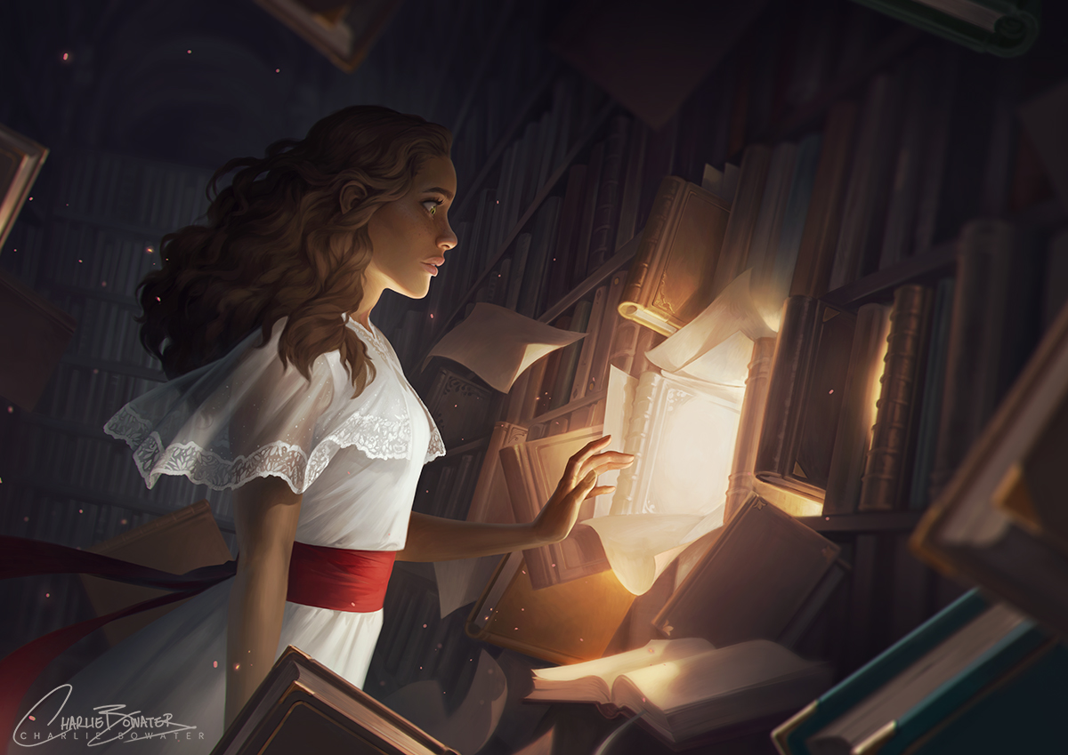 Charlie_Bowater_digital_painting_illustration_girl_library_books_magic