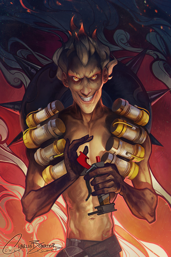 Charlie_Bowater_digital_painting_illustration_junkrat_overwatch