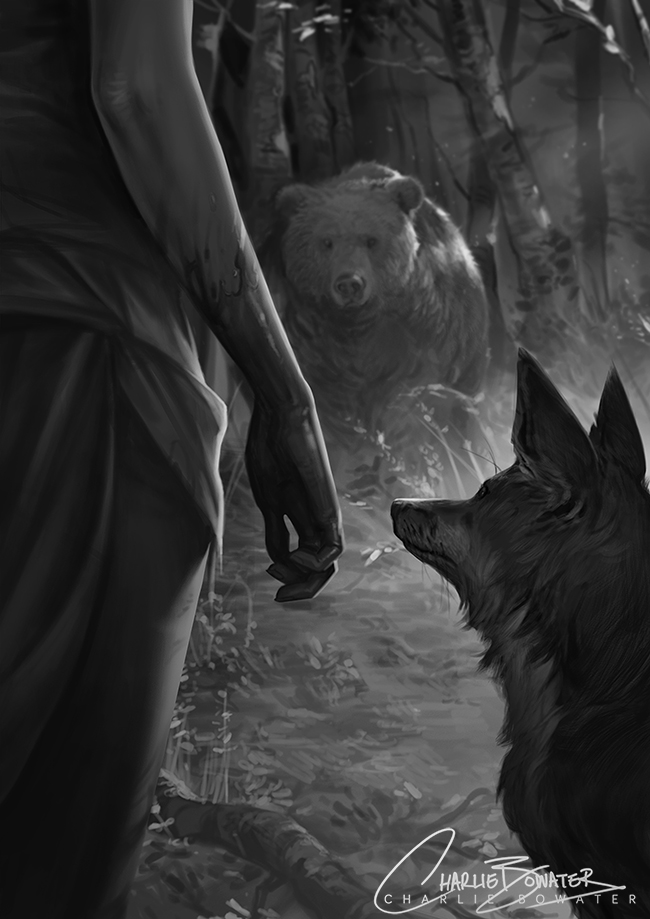 Charlie_Bowater_digital_painting_illustration_bear_wolf_scenery