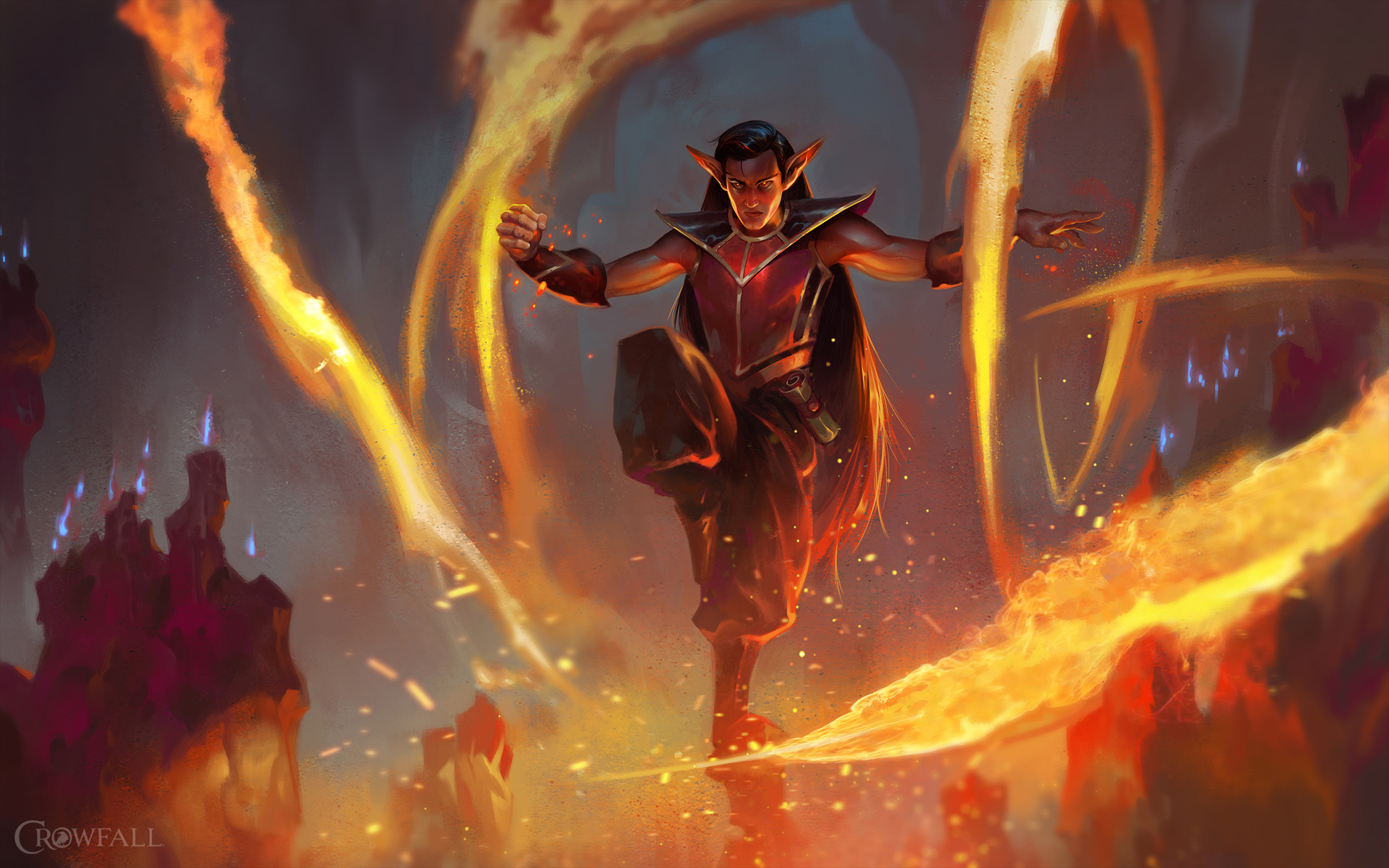 Dave Greco Digital Painting Crowfall Mage Burn Fire