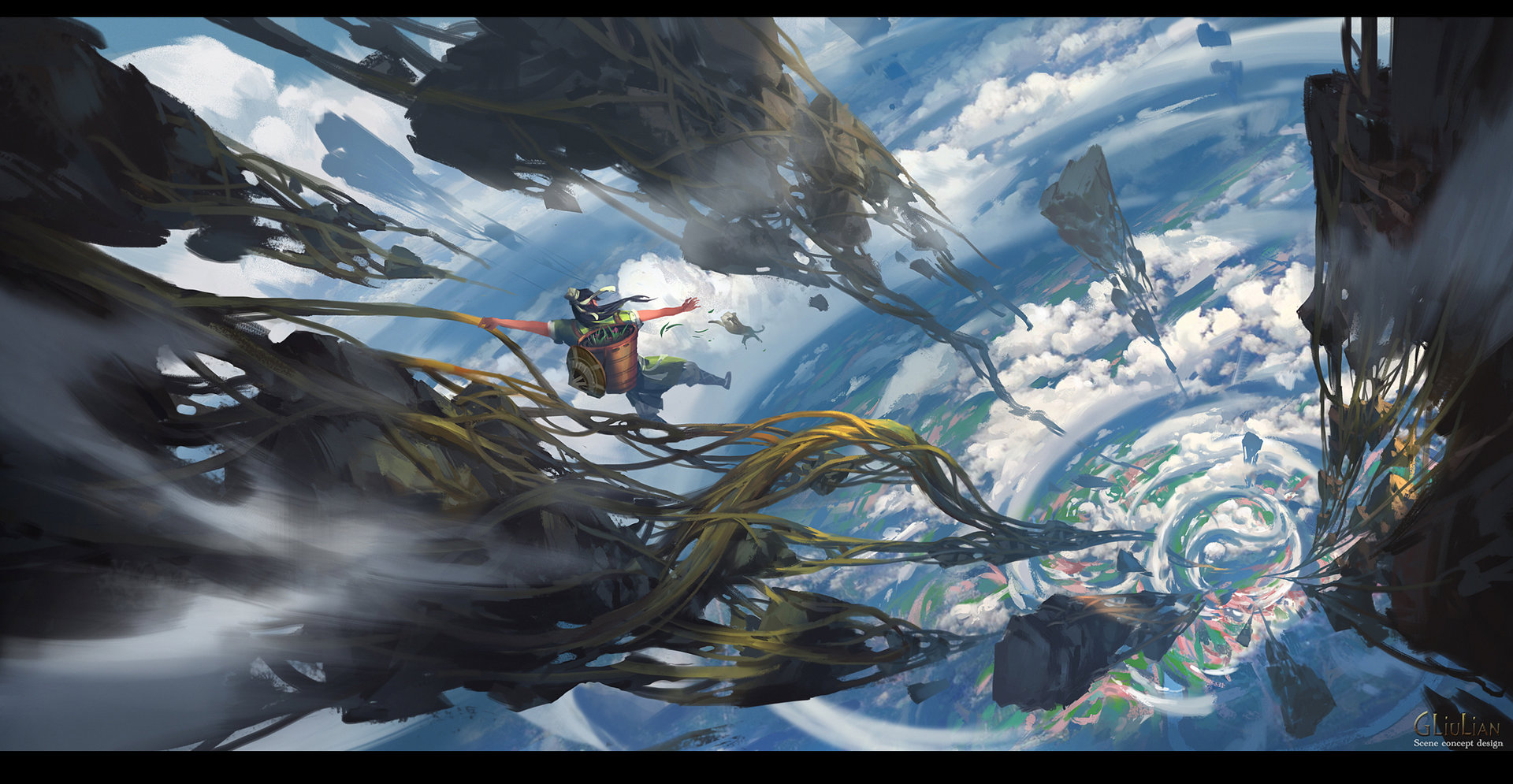 G Liulian digital painting concept art man falling floated island earth clouds
