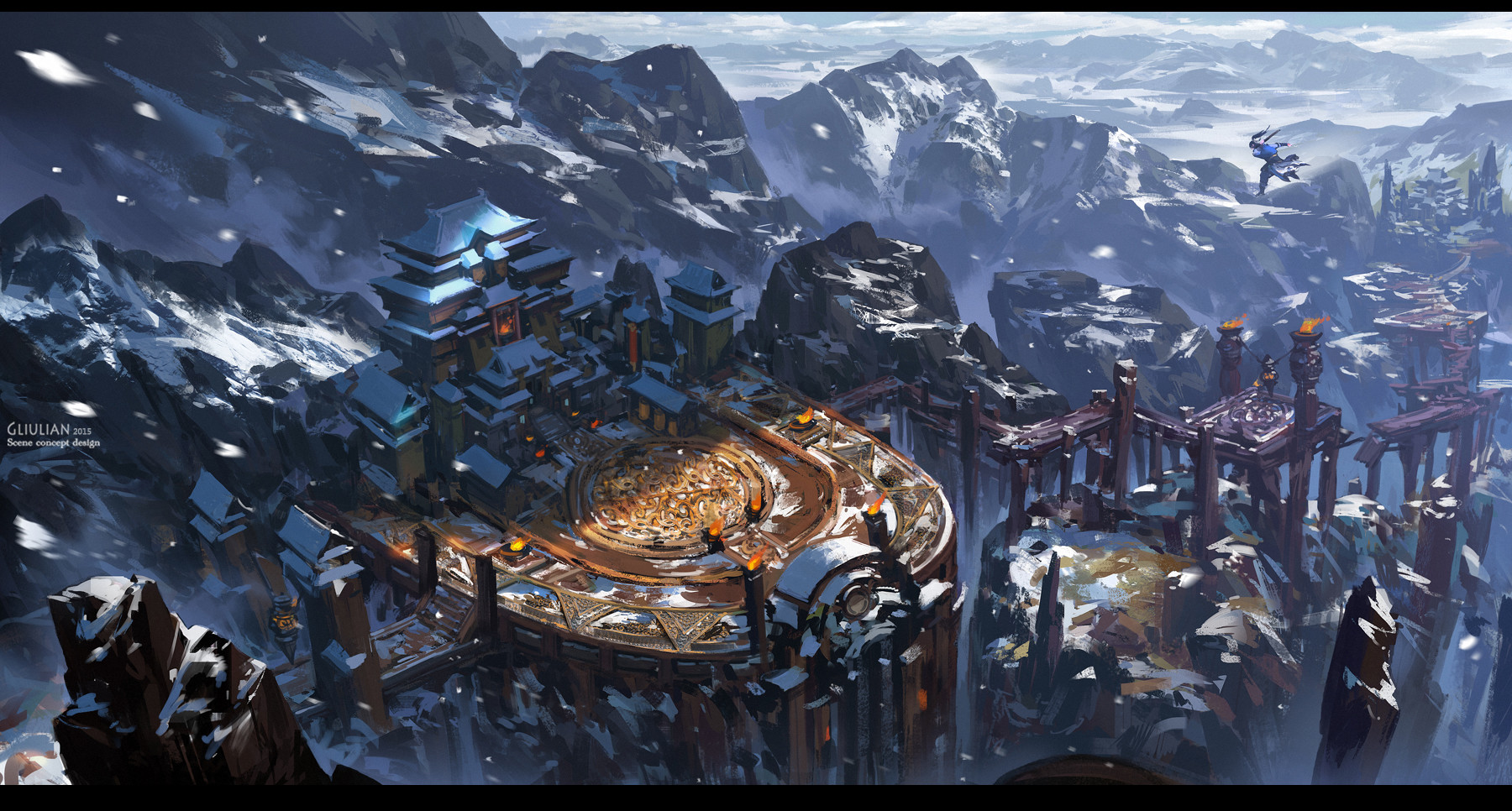 G Liulian digital painting concept art mountain snow temple art martial