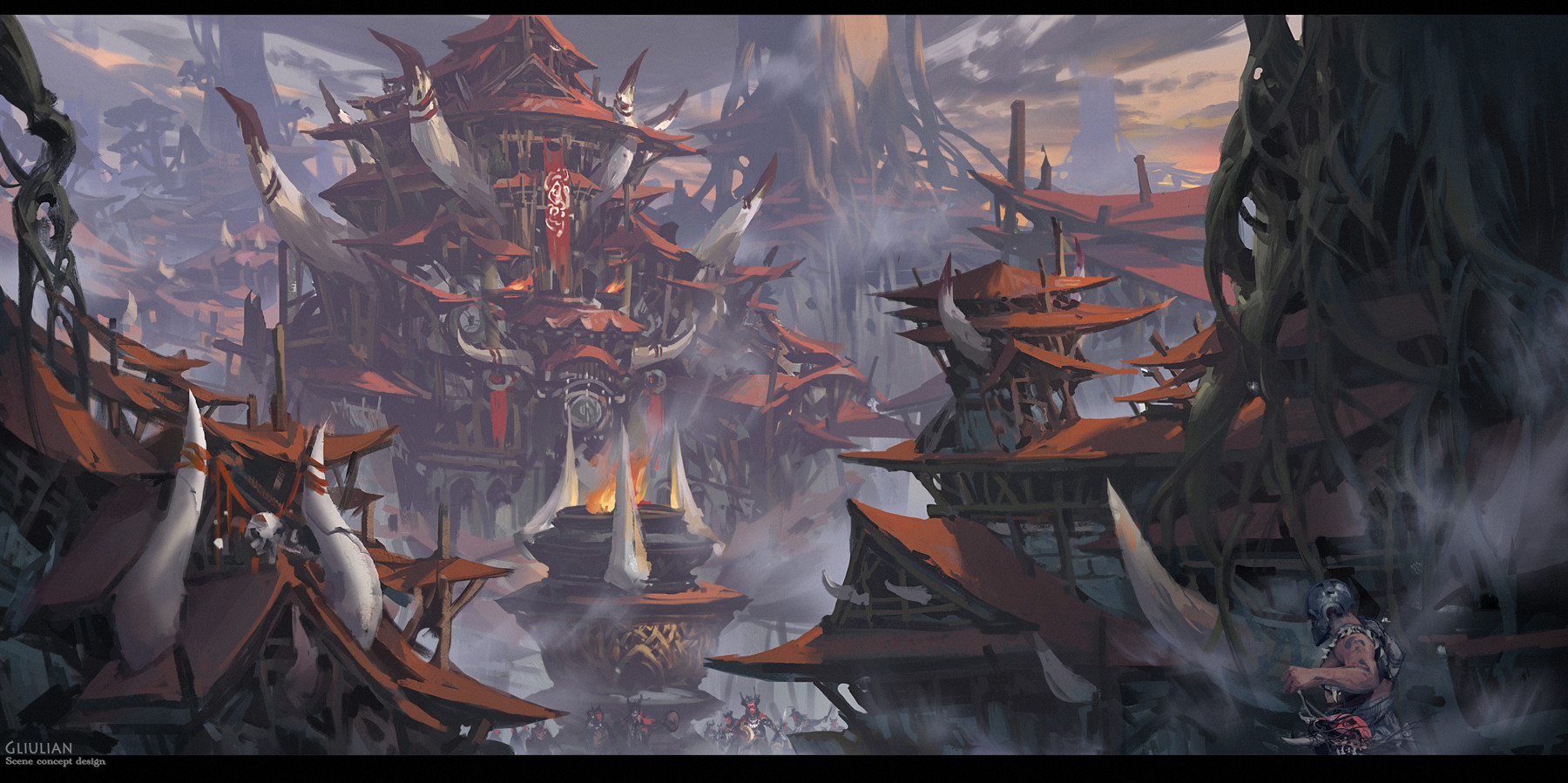 G Liulian digital painting concept art temple shaman