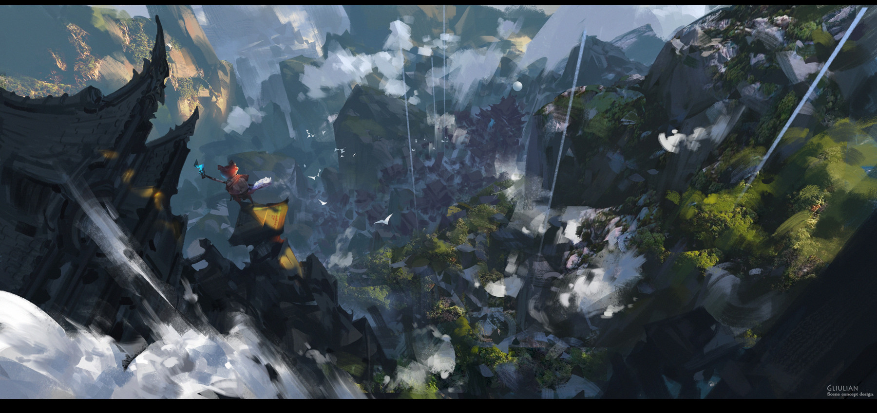 G Liulian digital painting concept art view fox forest mountain