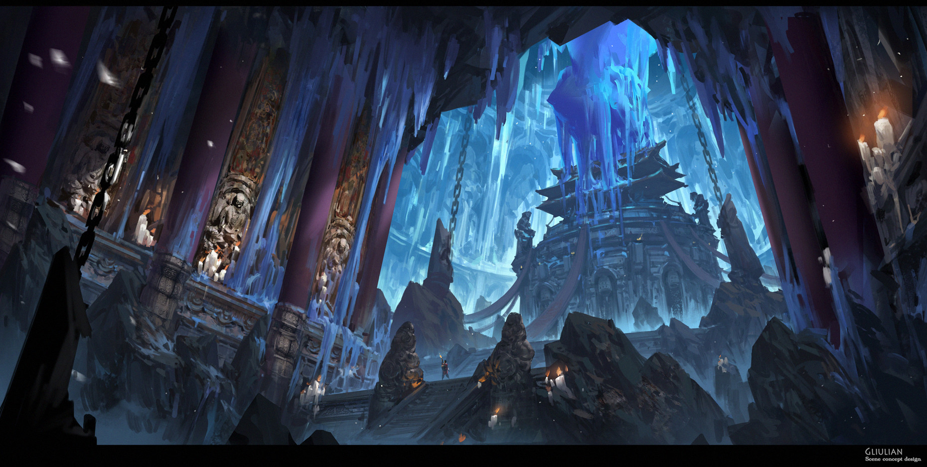 G Liulian digital painting concept art blue ice temple