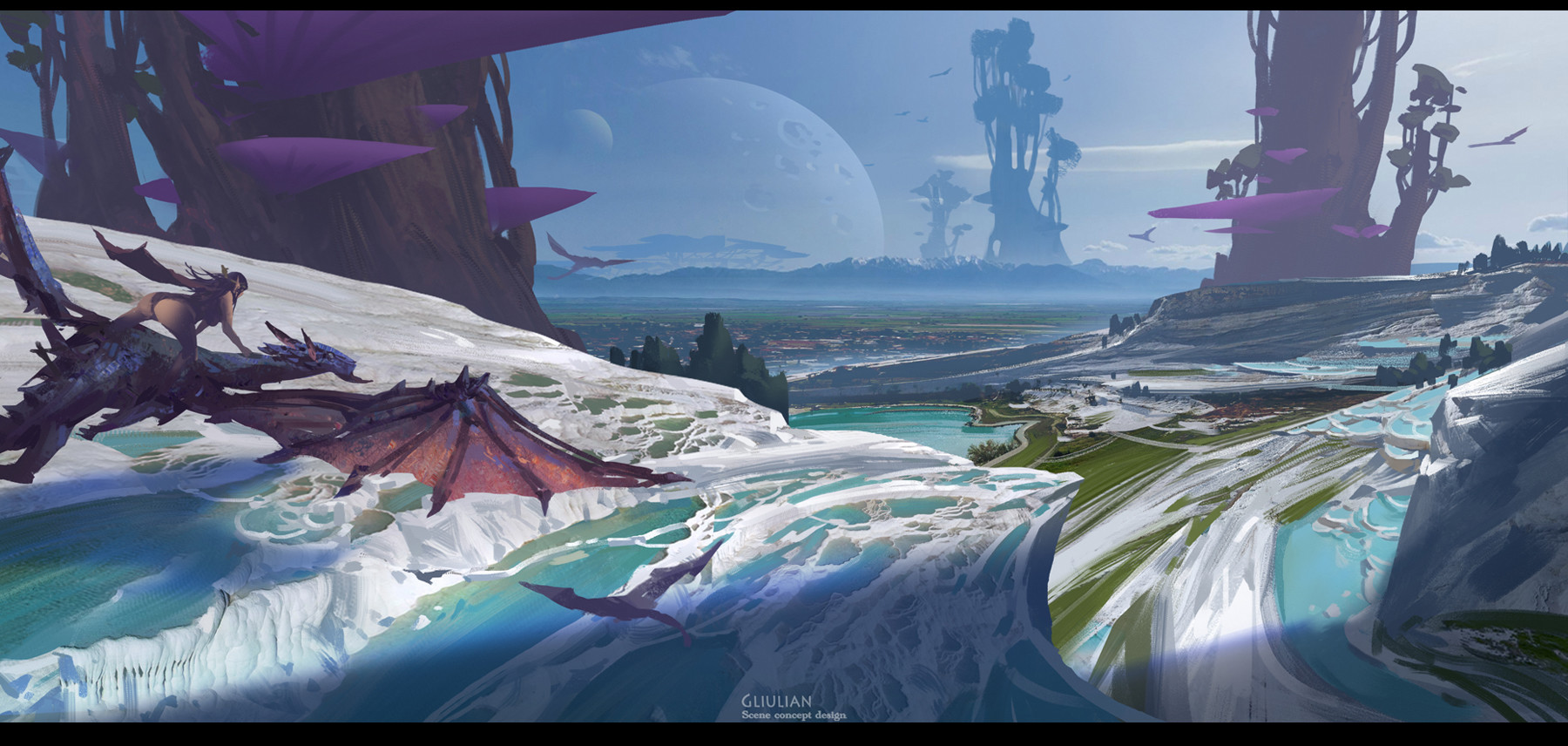 G Liulian digital painting concept art dragon planet sea