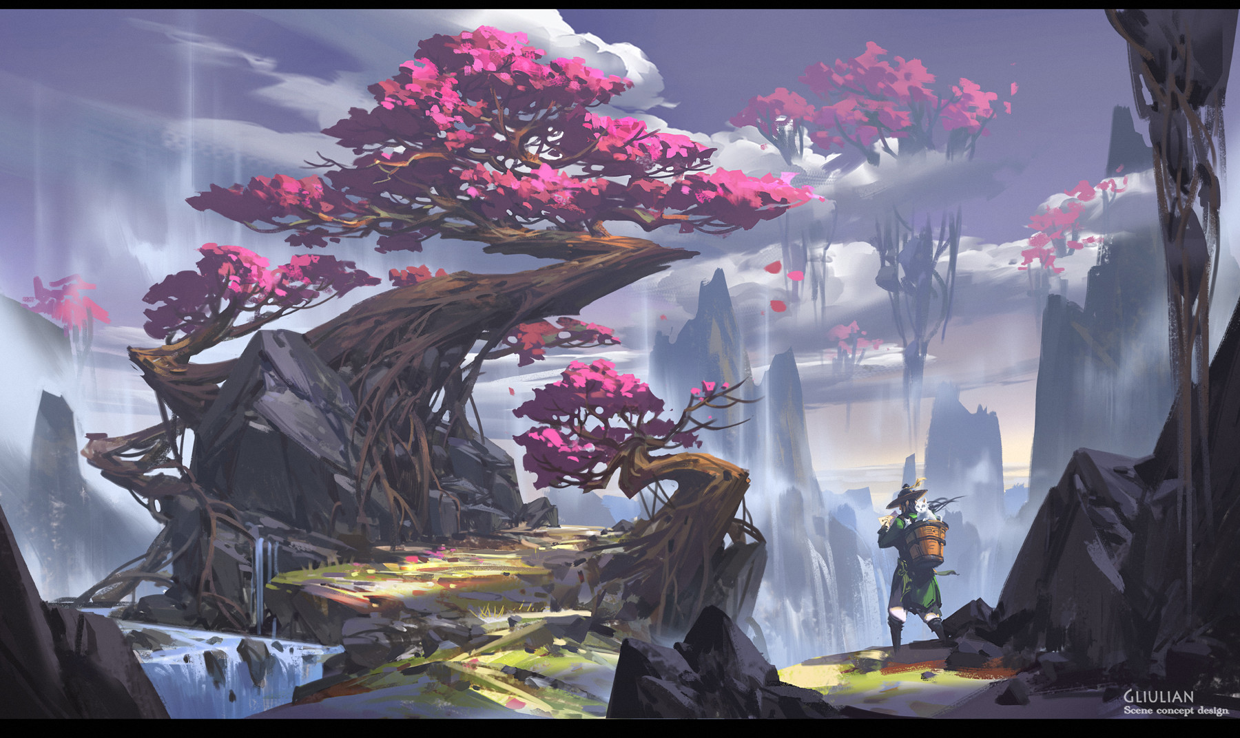 G Liulian digital painting concept art pink tree floated island