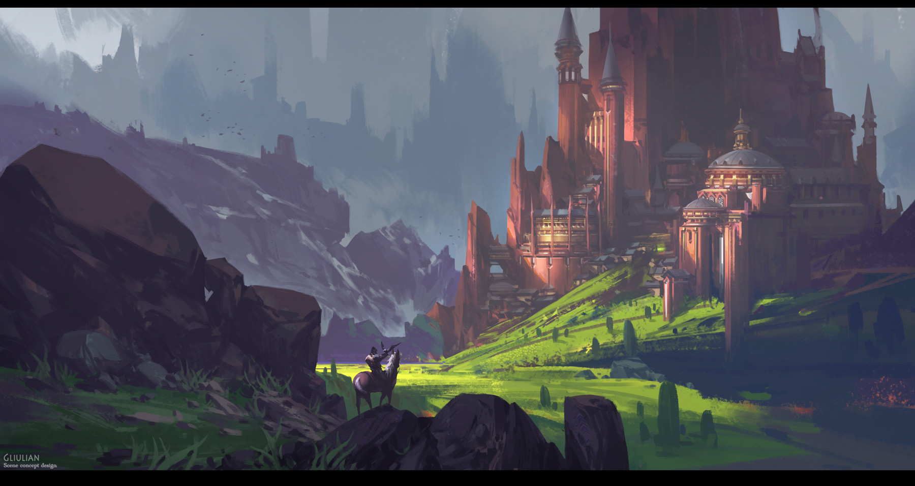 G Liulian digital painting concept art red castle green