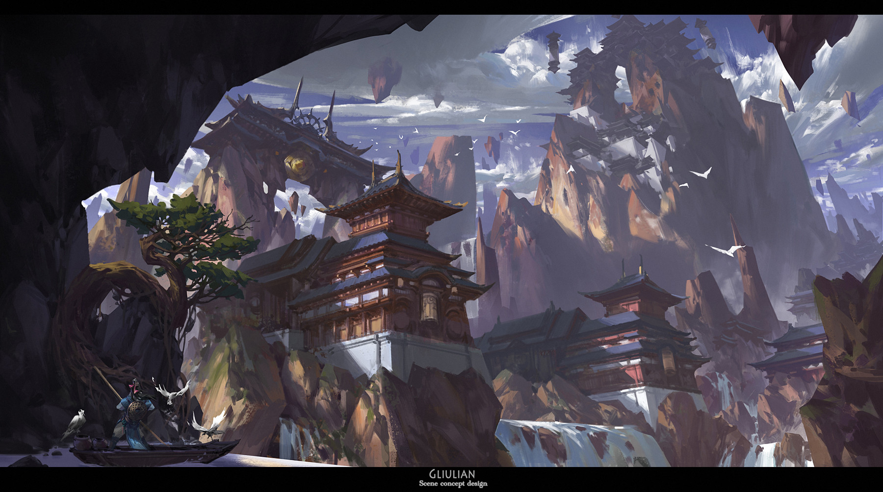 G Liulian digital painting concept art mountain temple