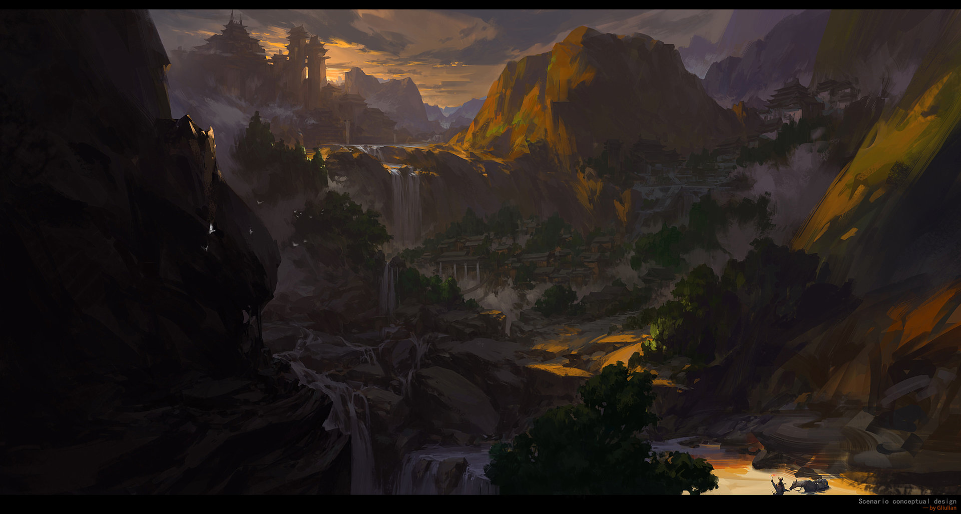 G Liulian digital painting concept art terrace sunset mountain cascade