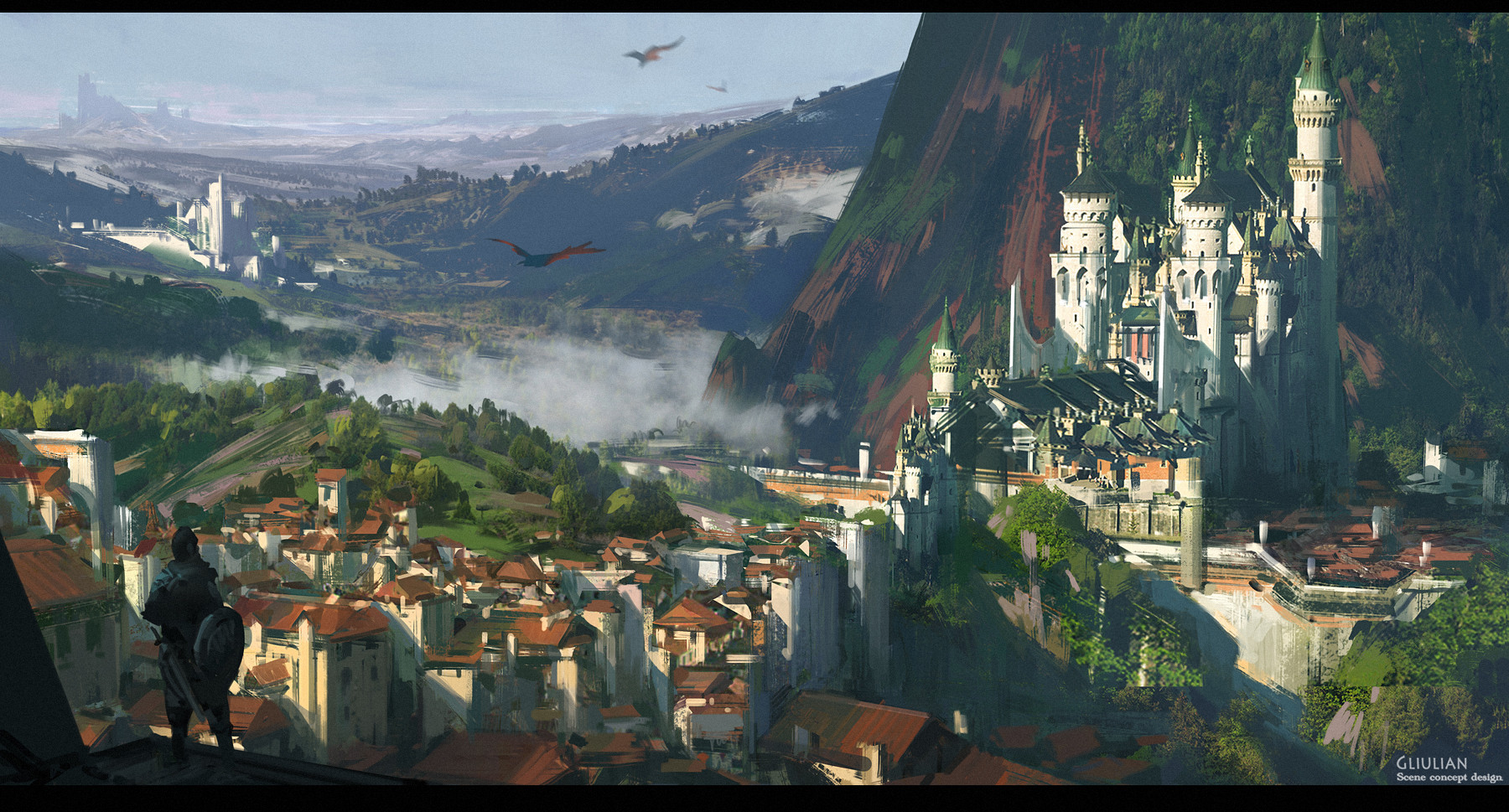 G Liulian digital painting concept art castle in mountain