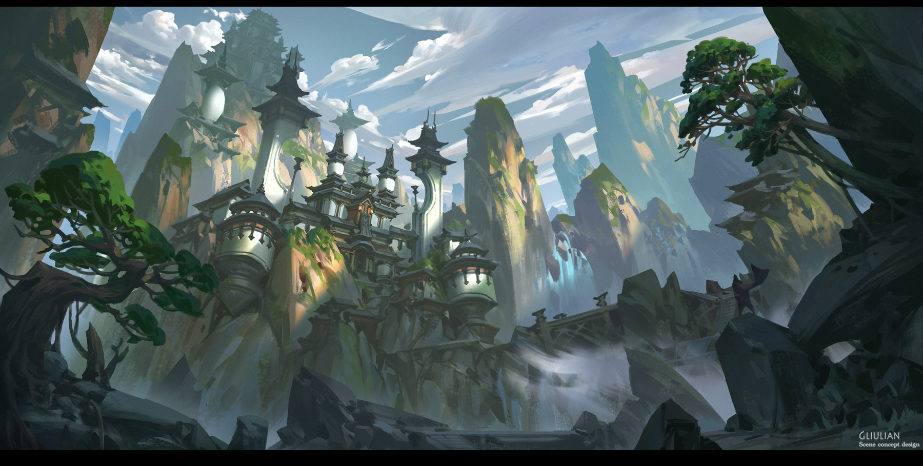 G Liulian digital painting concept art mountain city