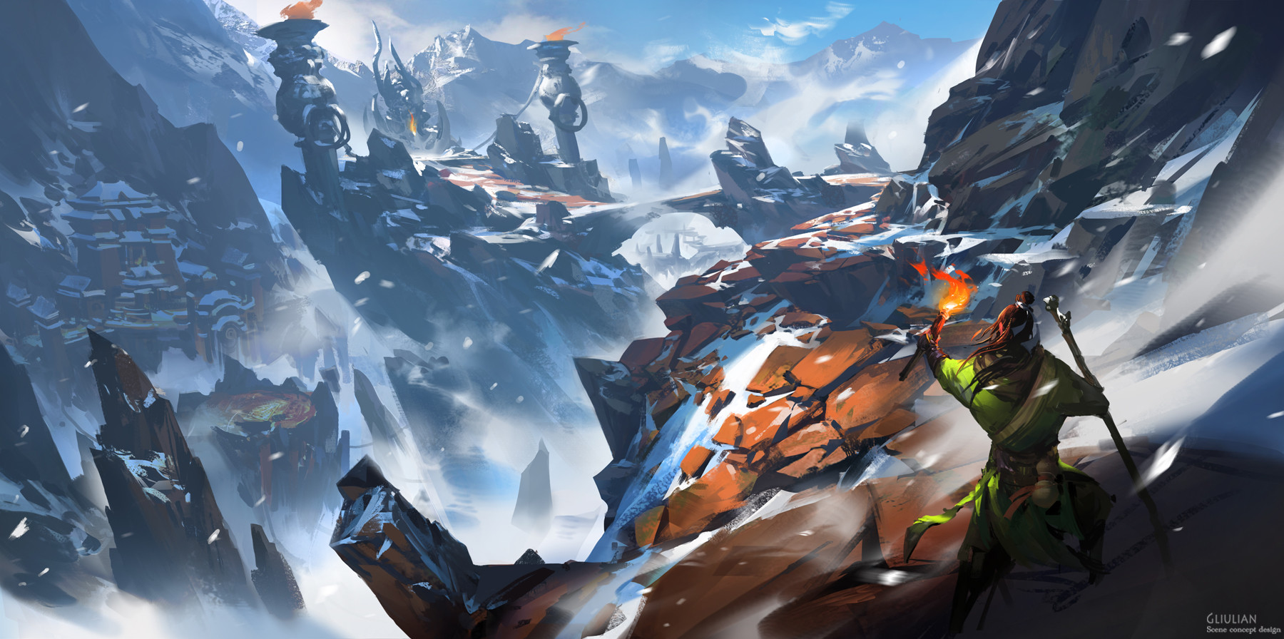 G Liulian digital painting concept art mage in snow mountain