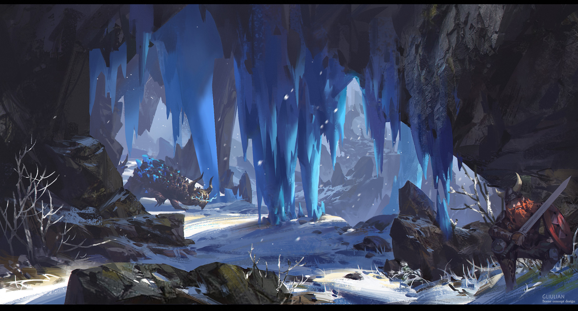 G Liulian digital painting concept art hunting dragon blue ice