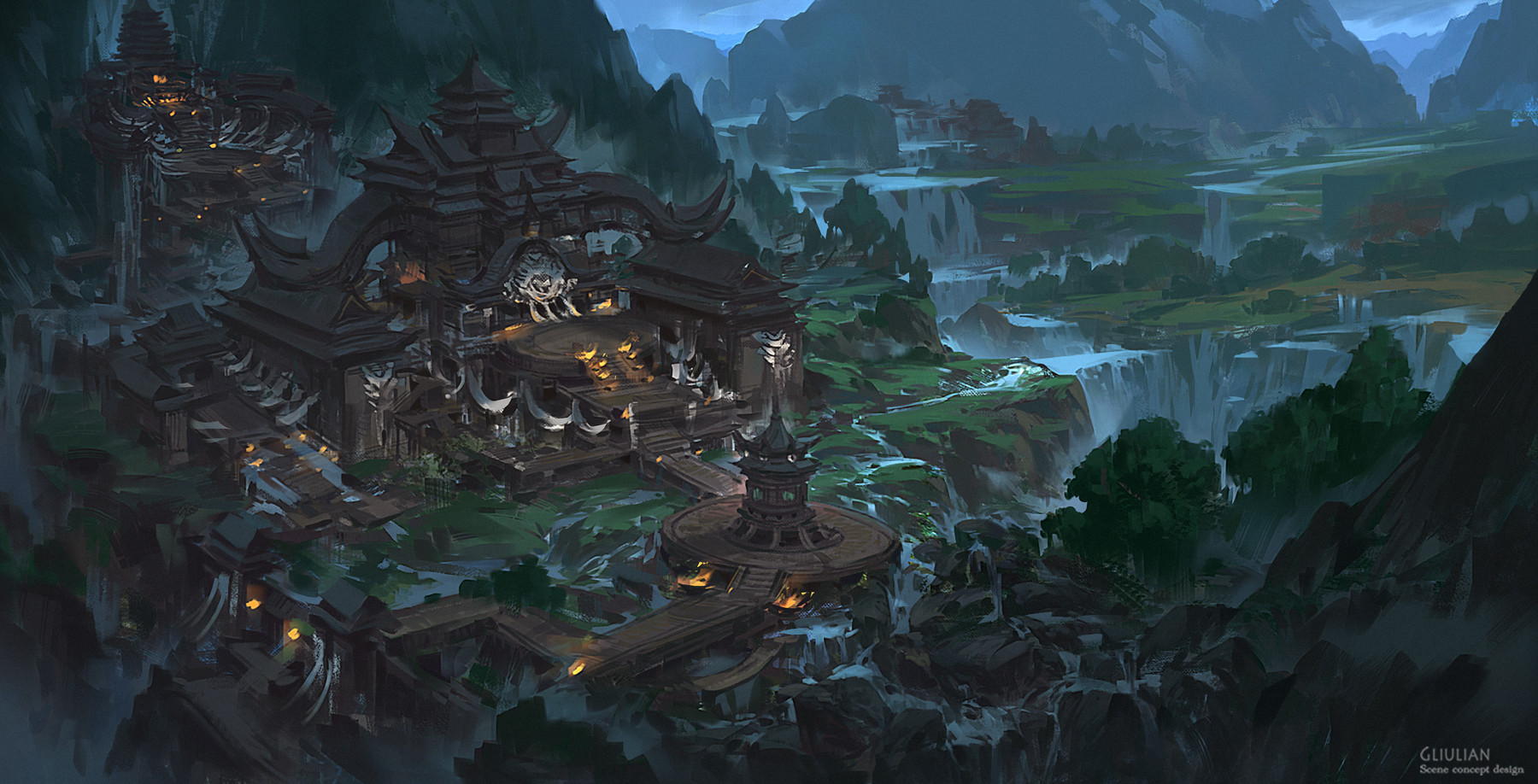 G Liulian digital painting concept art temple chinese