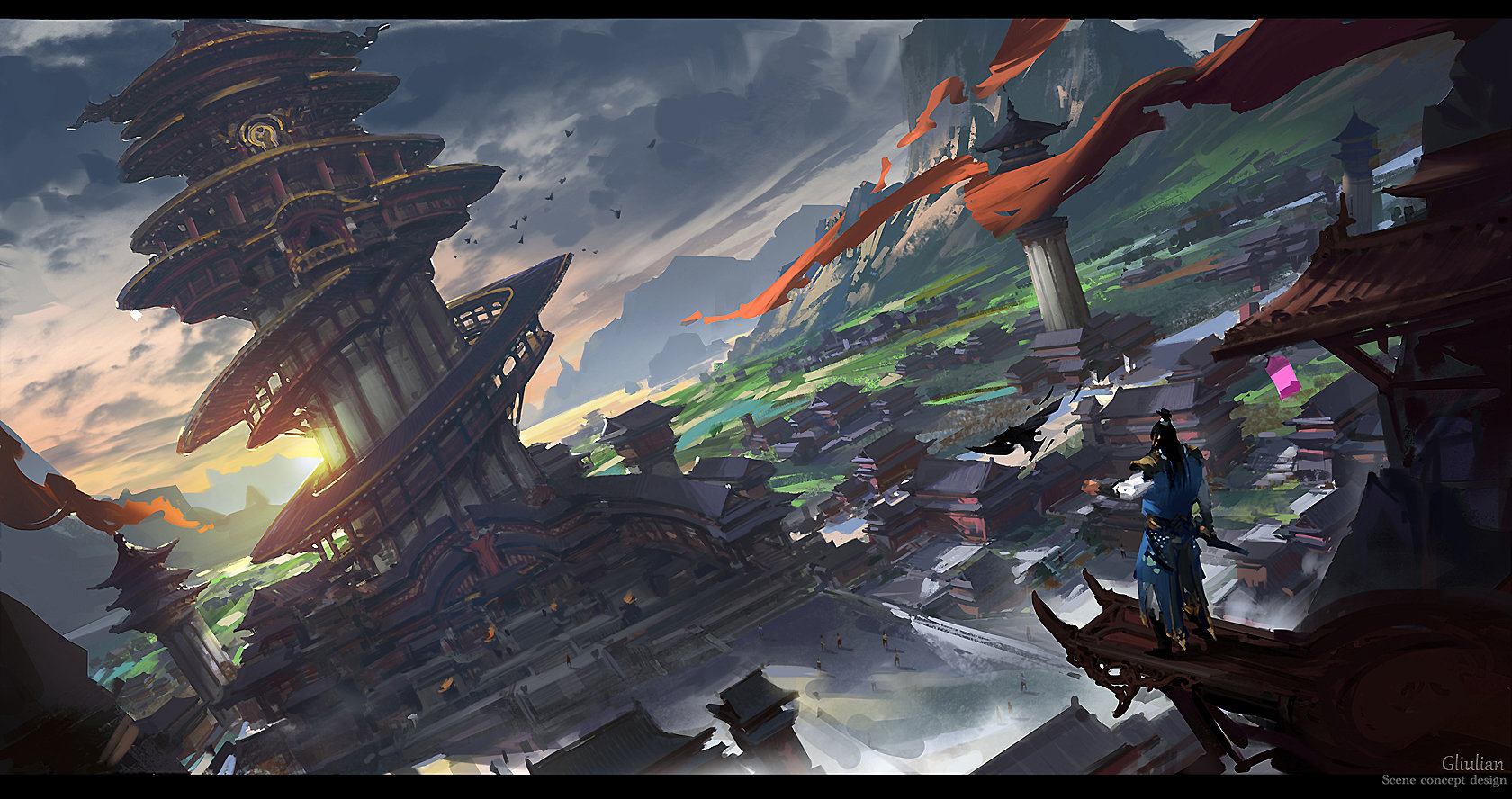G Liulian digital painting concept art circle temple red ruban
