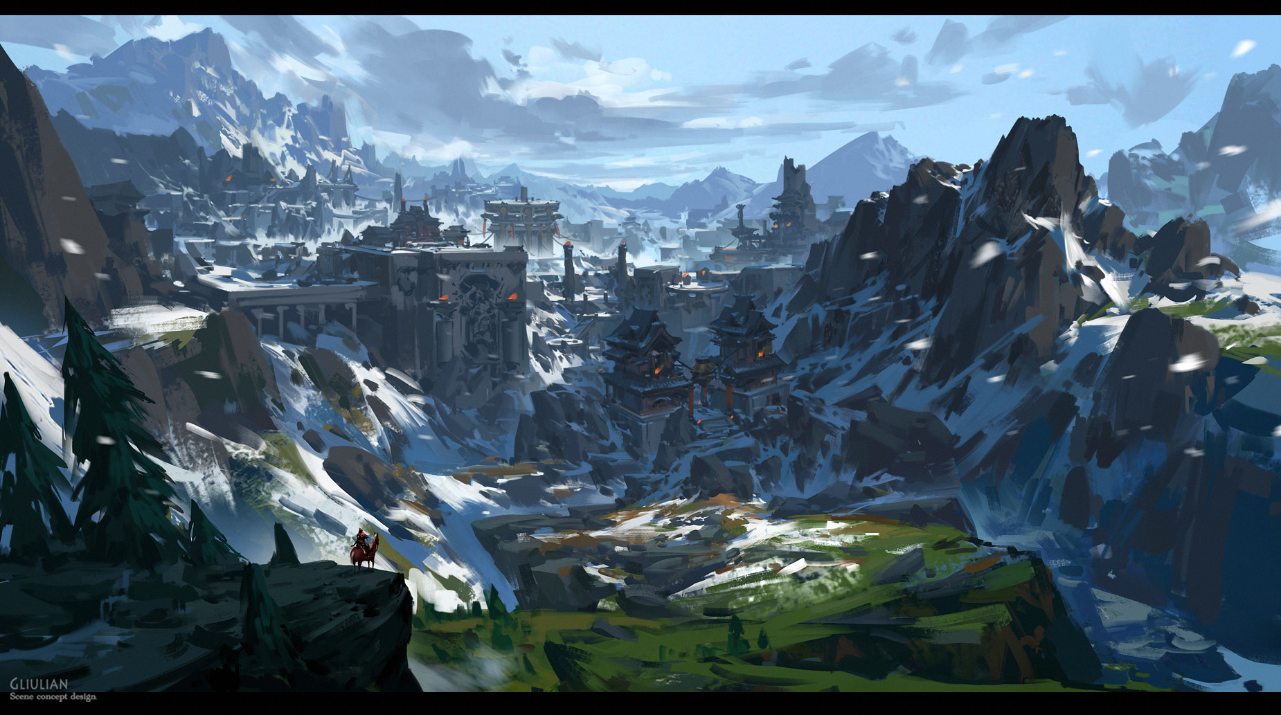 G Liulian digital painting concept art mountain snow
