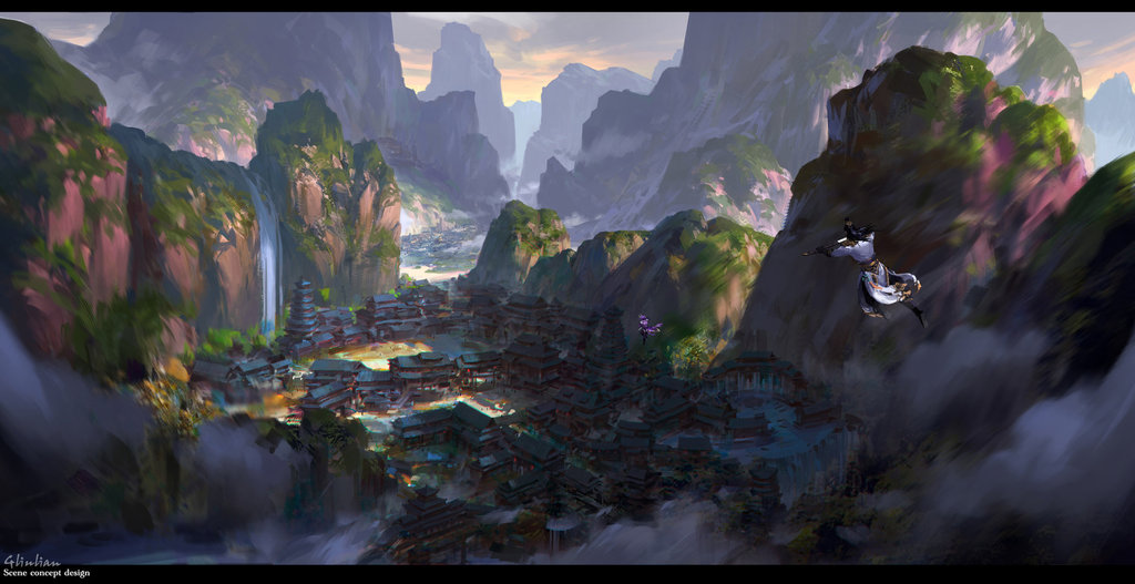G Liulian digital painting concept art temple chinese martial art