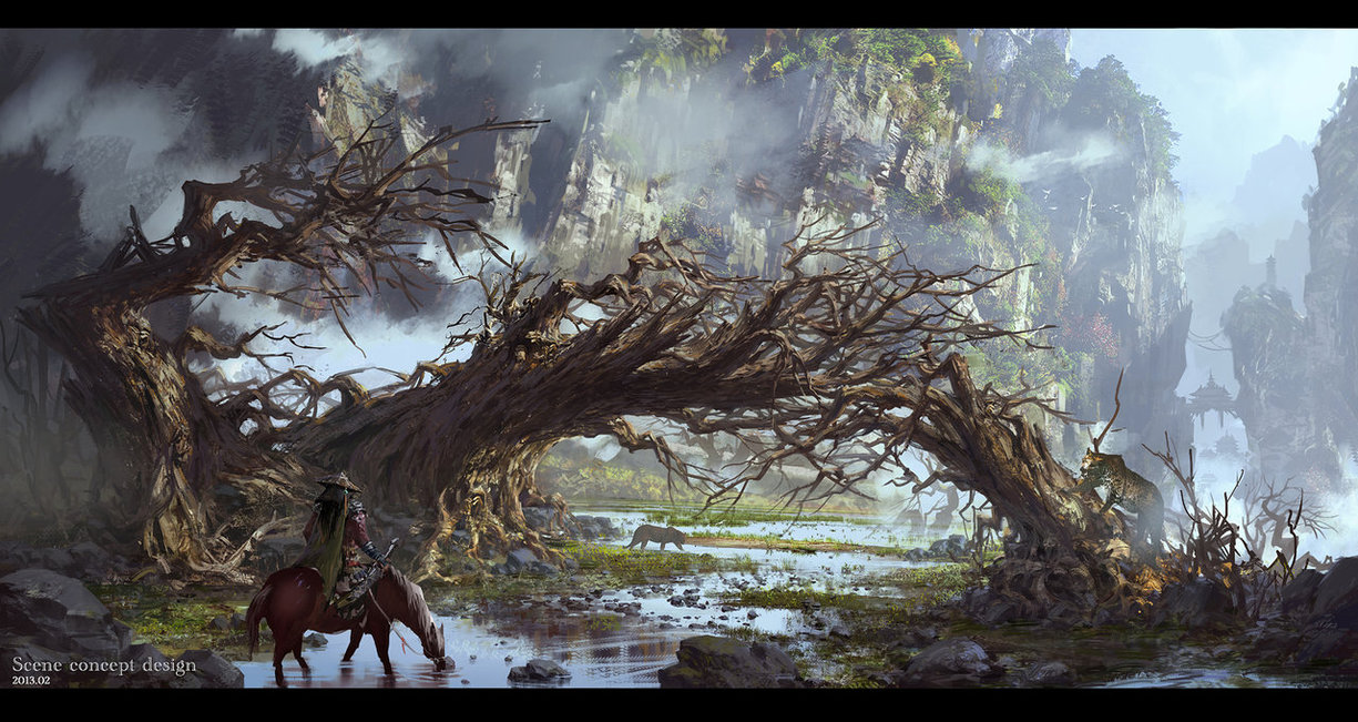 G Liulian digital painting concept art broken tree chinese man