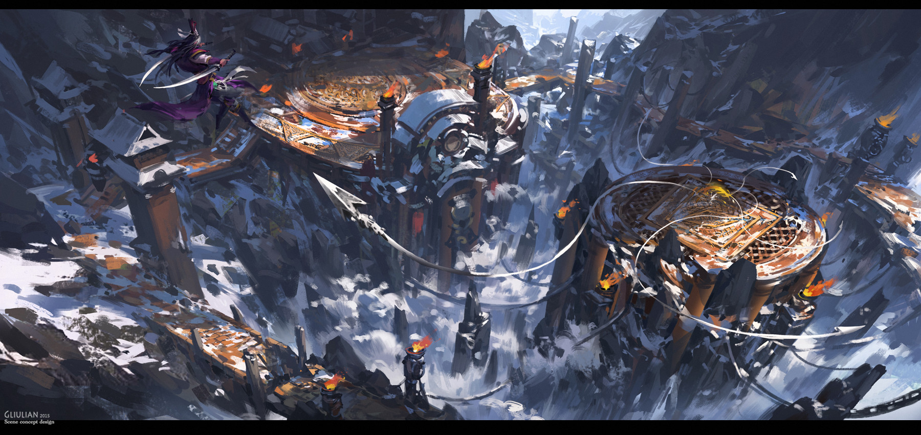 G Liulian digital painting concept art art martial mountain snow temple