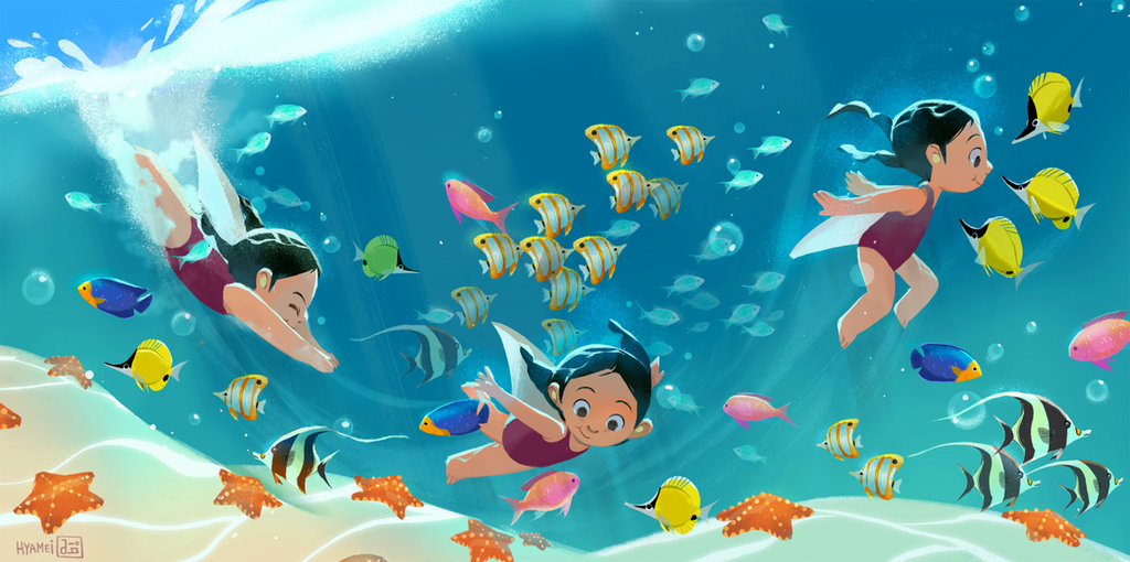 hyamei_digital_painting__illustration_drawing_kids_swim_fishes