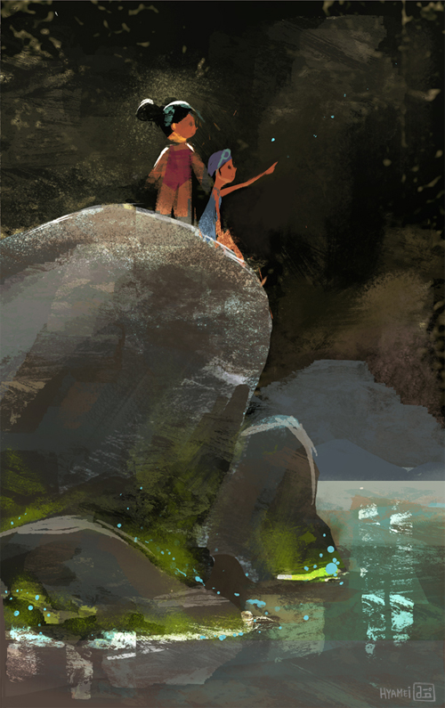 hyamei_digital_painting__illustration_drawing_kids_rock_swim