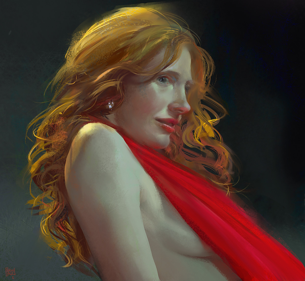 Nacho Yague Digital Painting Concept art personnal work woman red hair red dress