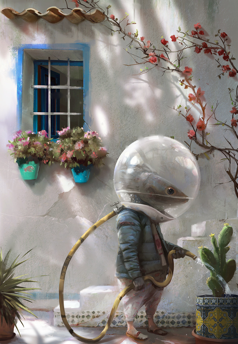 Nacho Yague Digital Painting Concept art Morning Watering