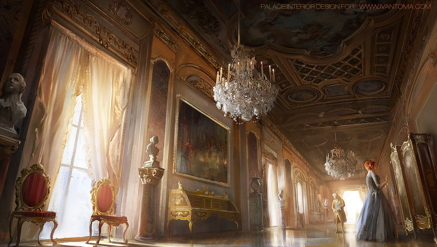 Nacho Yague Digital Painting Concept art Palace room