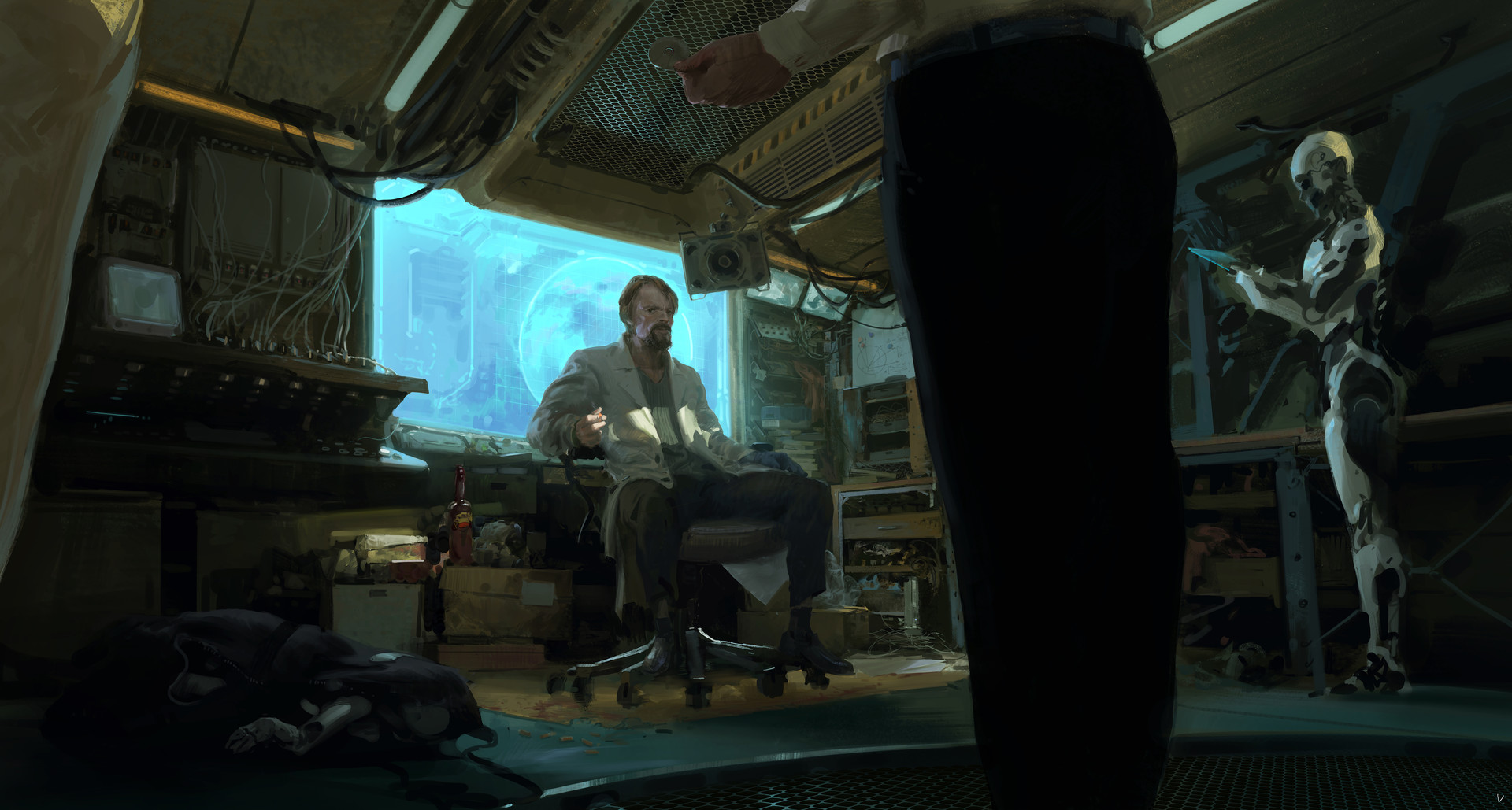 Victor Cloux Digital Painting Illustration Doctor Sci-fi Blue Screen