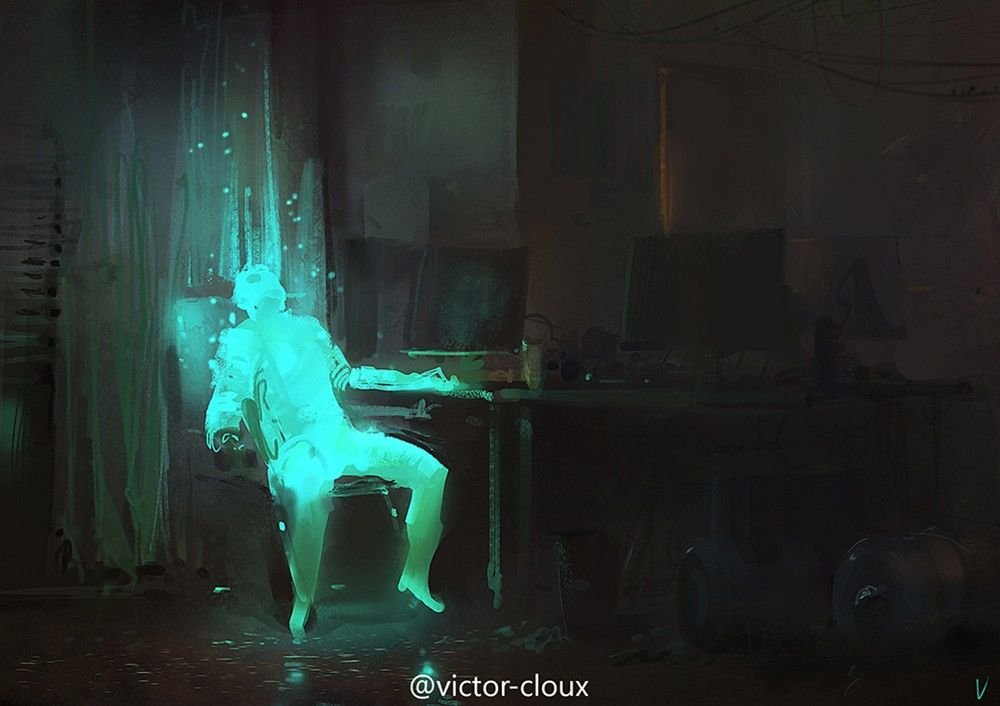 Victor Cloux Digital Painting Illustration Spectral guys desk
