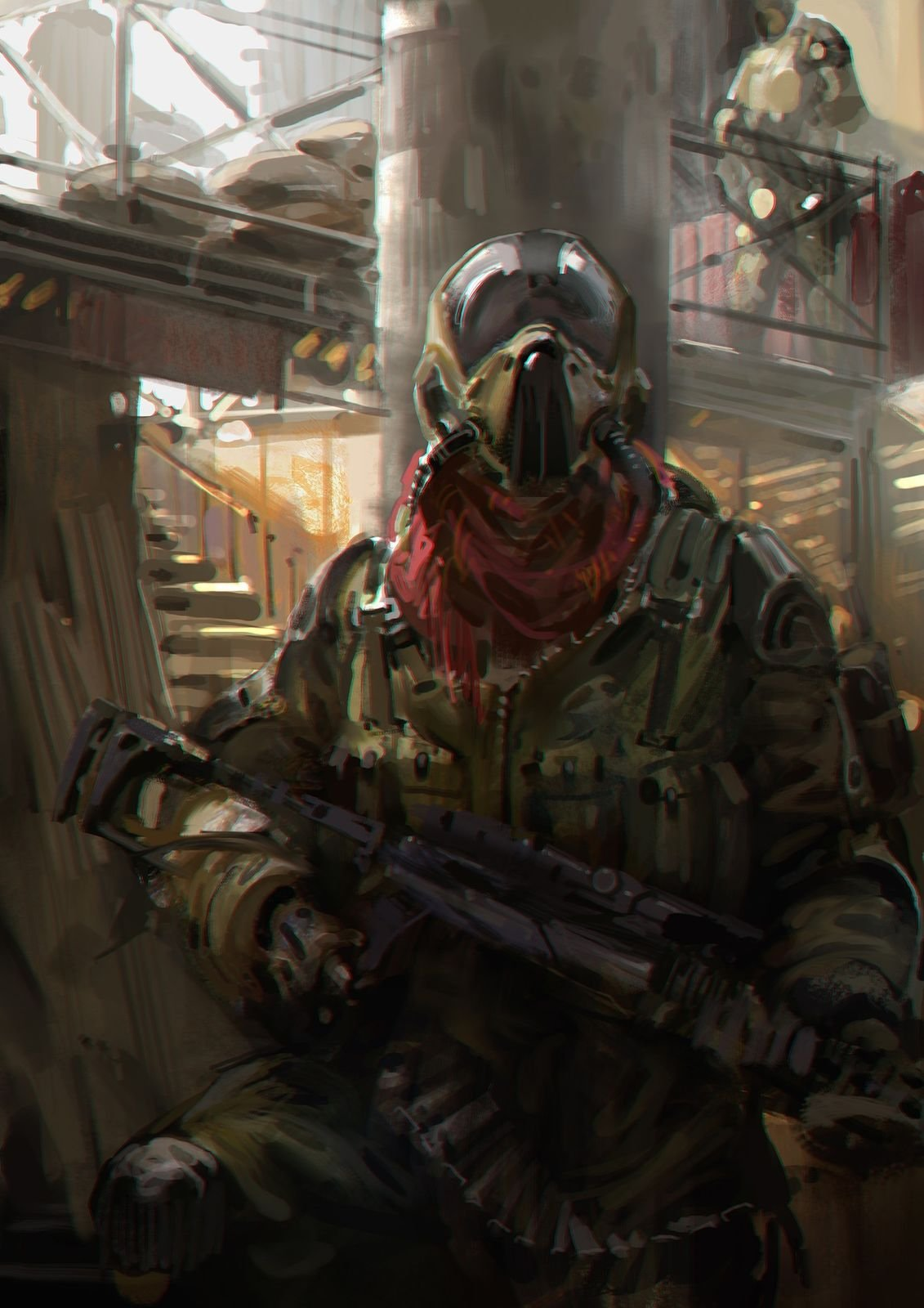 Victor Cloux Digital Painting Illustration War Man Soldier