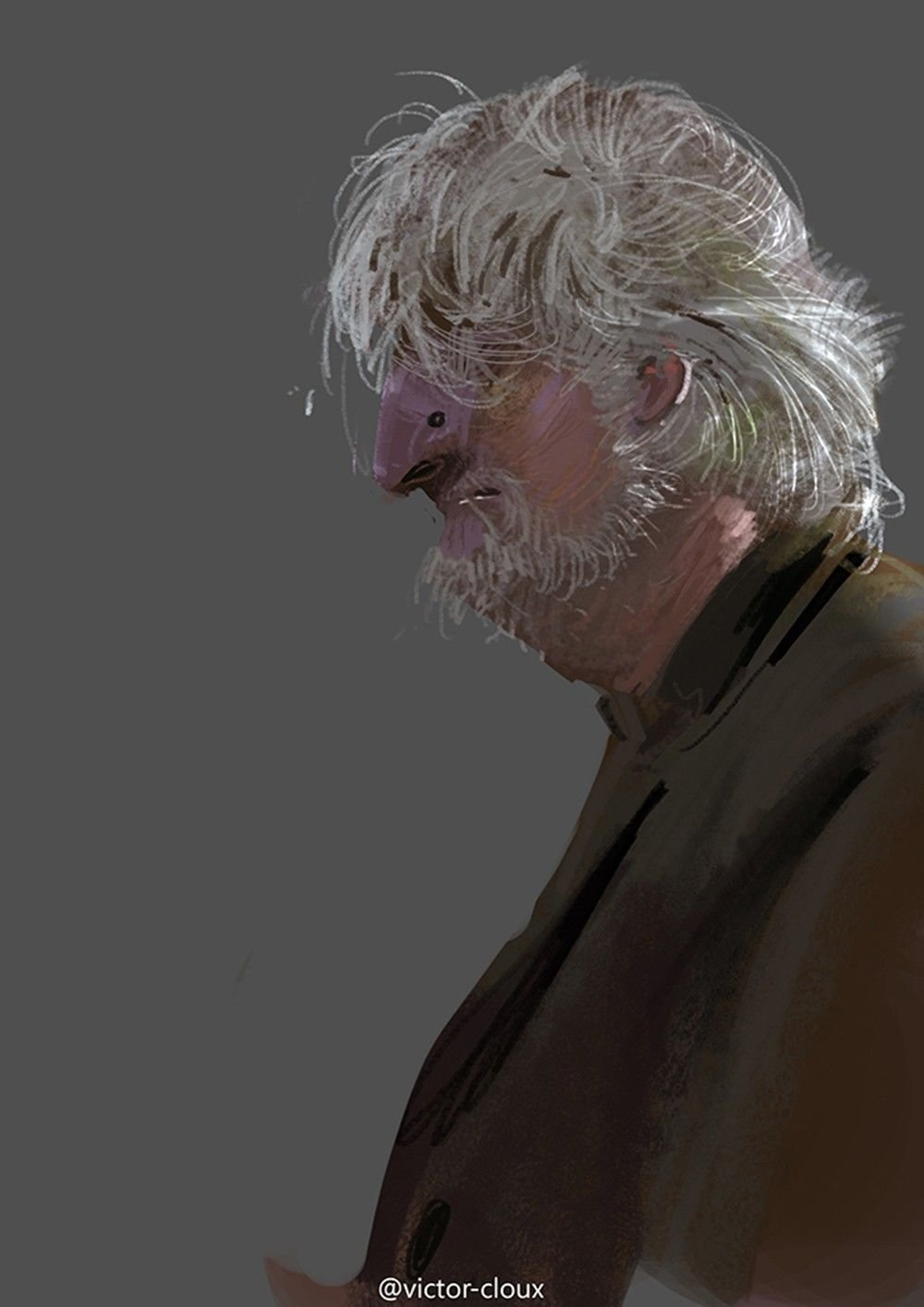 Victor Cloux Digital Painting Illustration Old Man Grey Sketch