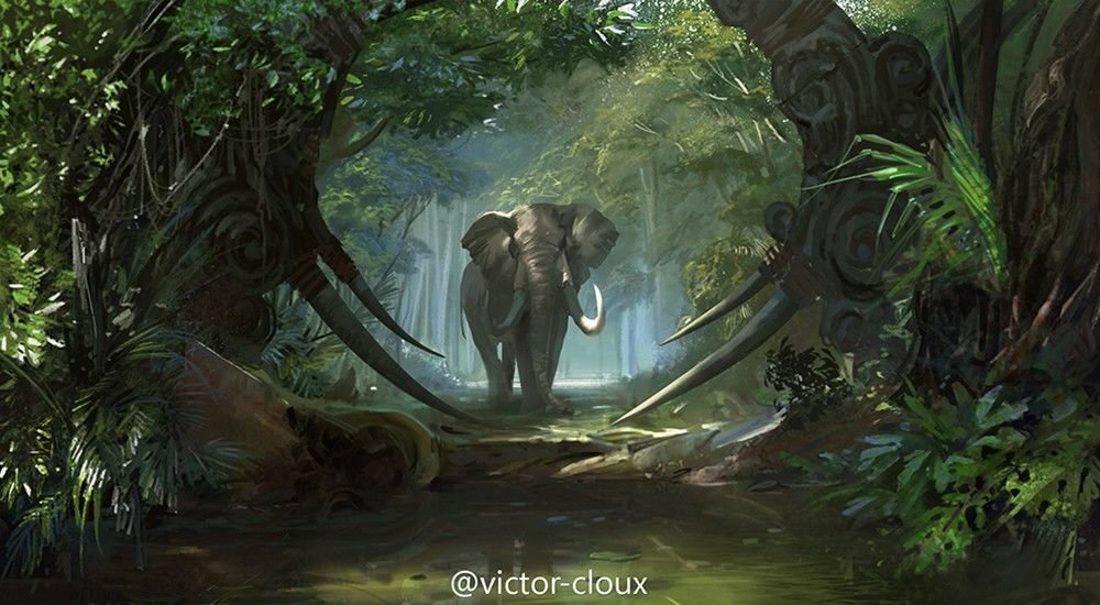 Victor Cloux Digital Painting Illustration Elephant jungle