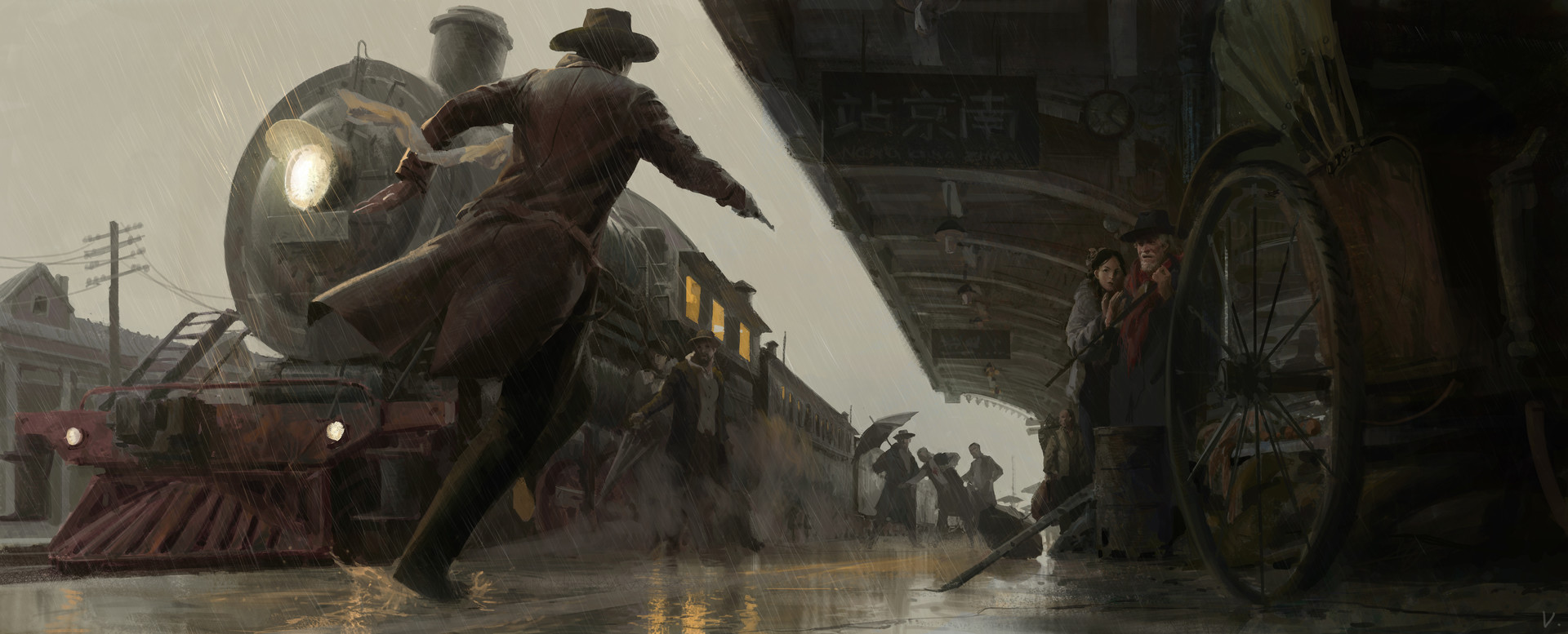 Victor Cloux Digital Painting Illustration Western Killing Train