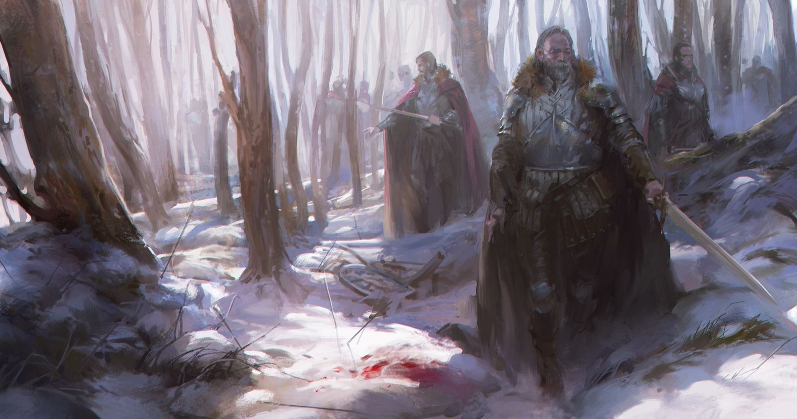 Victor Cloux Digital Painting Illustration Knight Snow Blood