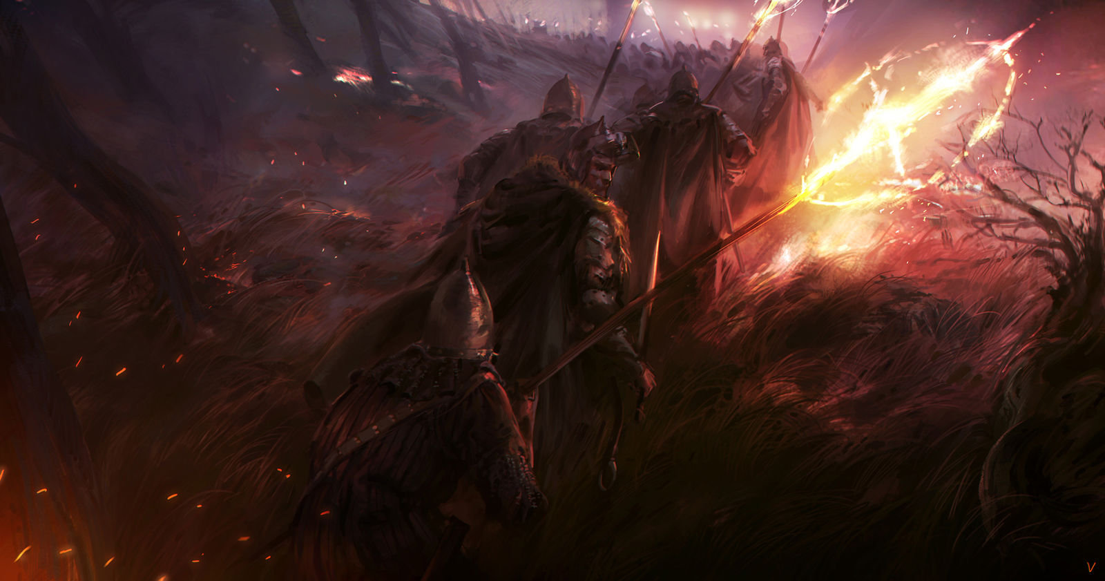 Victor Cloux Digital Painting Illustration Knight Fire Attack
