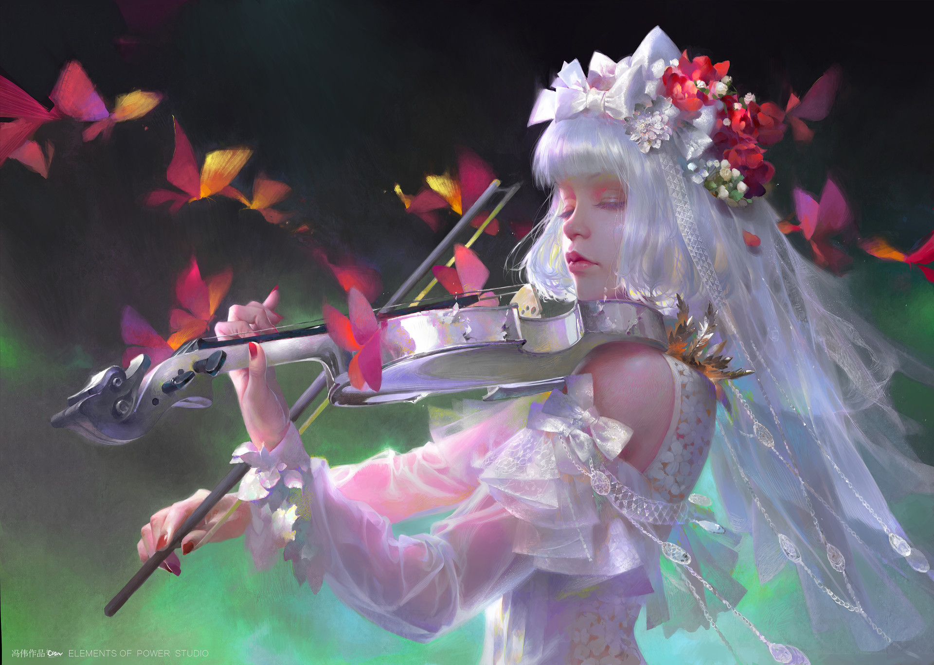 Wei Feng Digital Painting Illustration Woman White Violin Butterfly