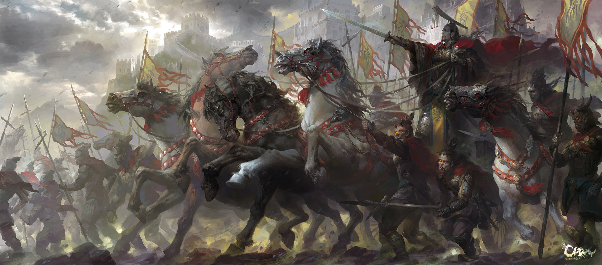 Wei Feng Digital Painting Illustration Prepare to battle warrior knight horses