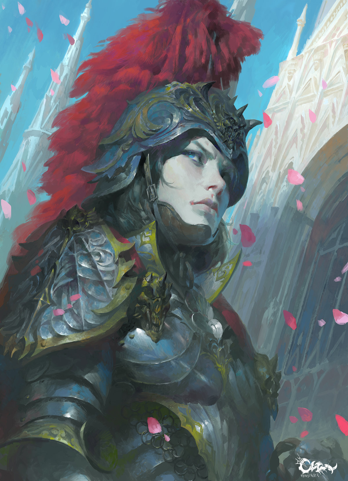 Wei Feng Digital Painting Illustration Portrait woman knight