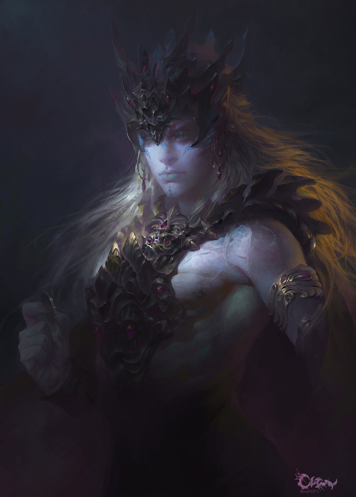 Wei Feng Digital Painting Illustration Portrait male warrior painting face
