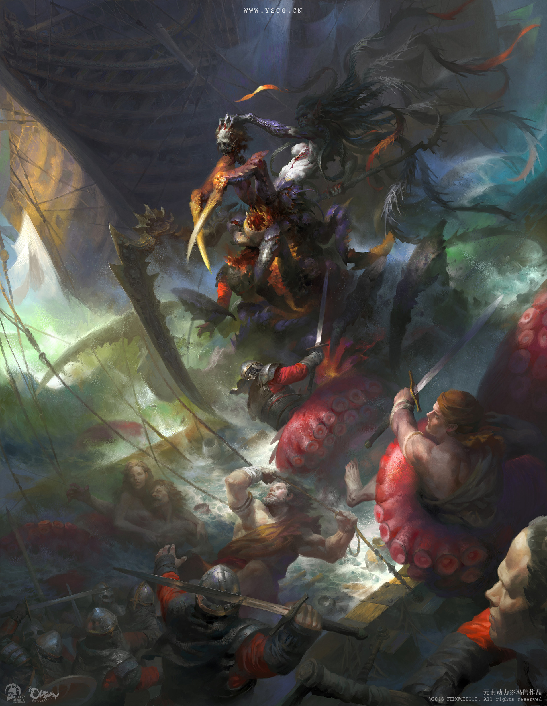 Wei Feng Digital Painting Illustration Mermaid creature attack sea boat knight
