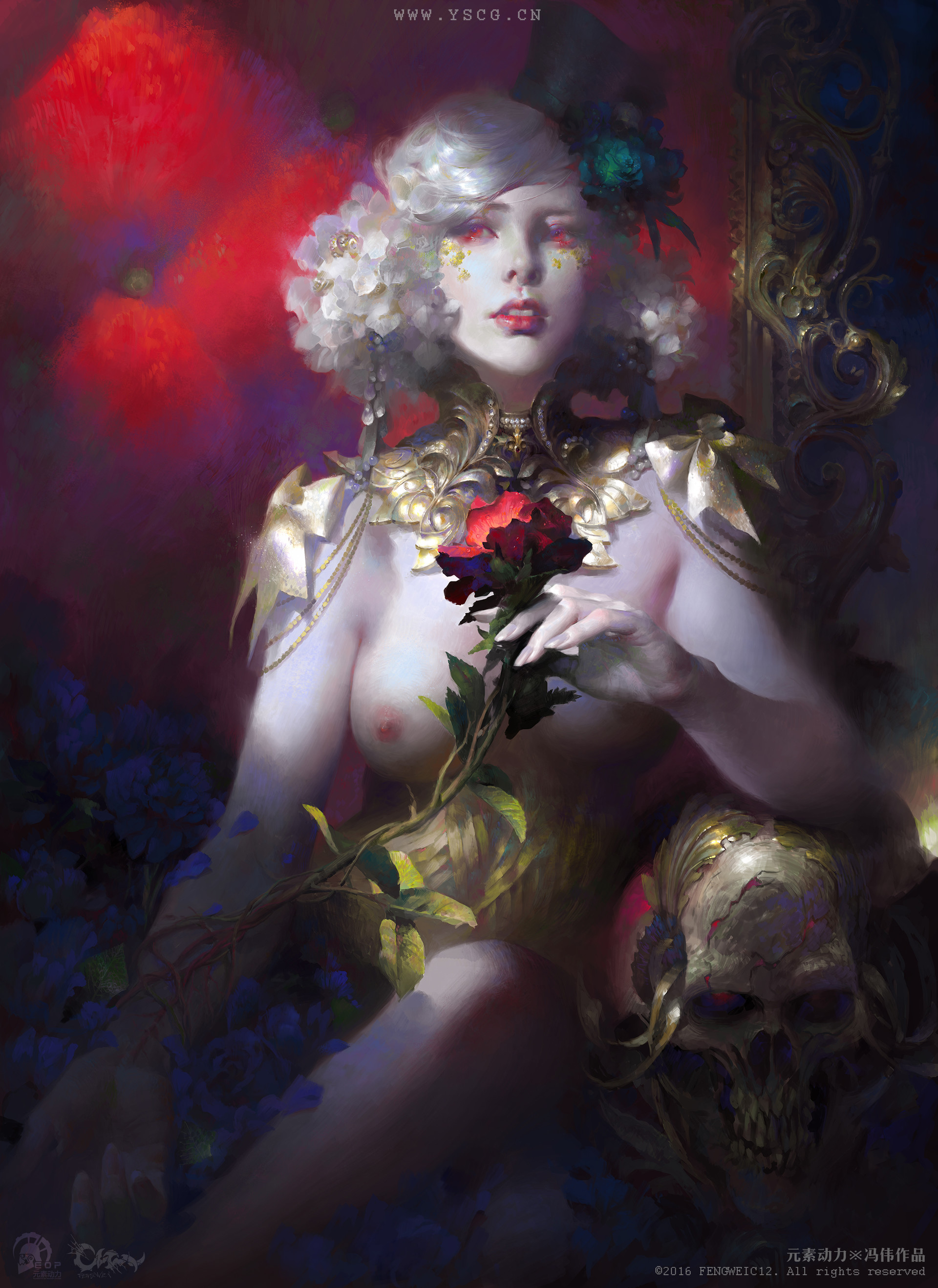 Wei Feng Digital Painting Illustration woman naked with a red rose
