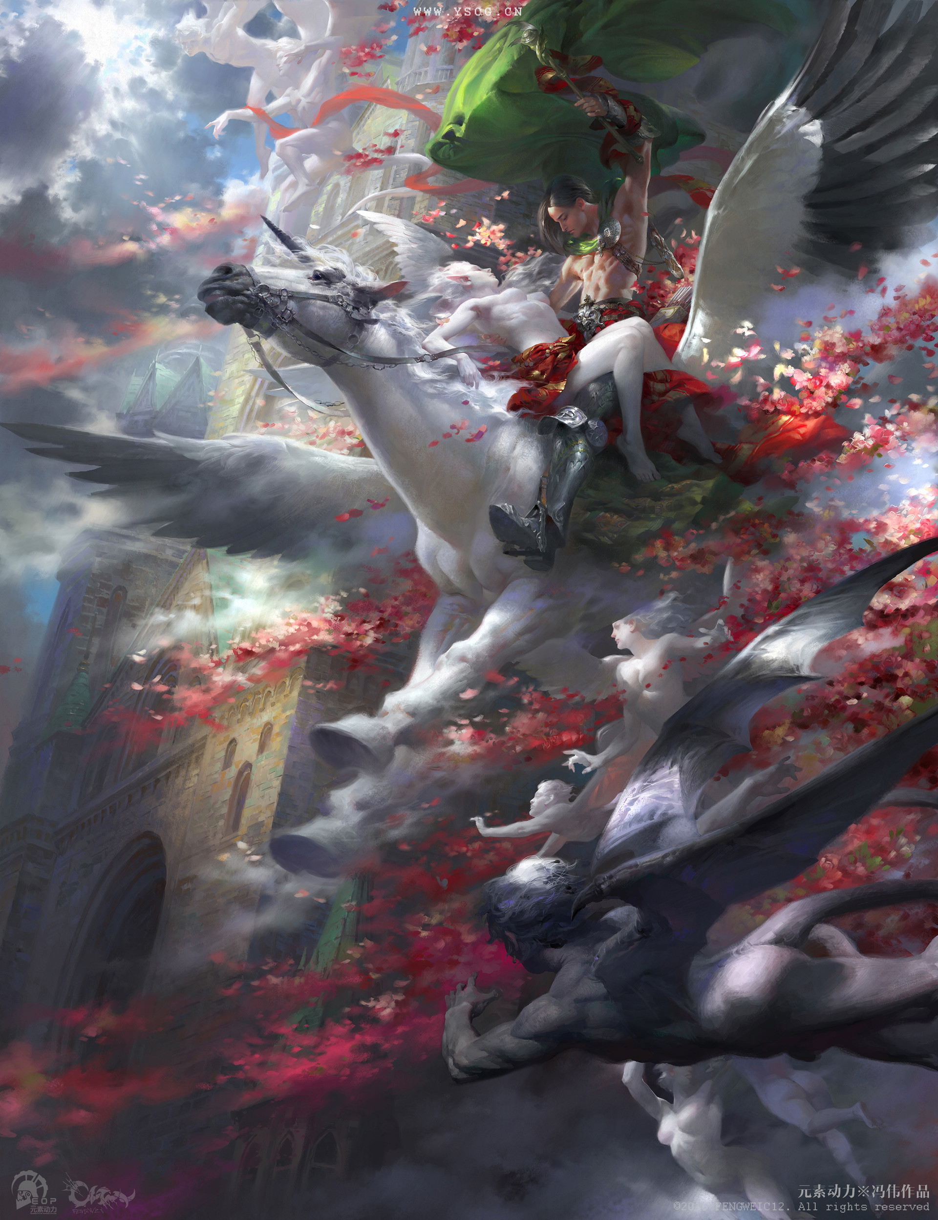 Wei Feng Digital Painting Illustration Flying Horse Woman elf red flower