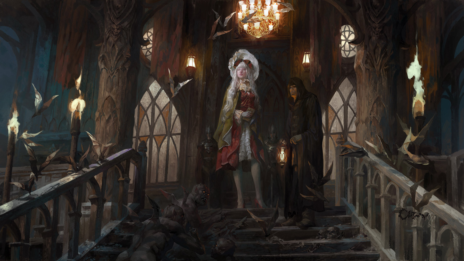 Wei Feng Digital Painting Illustration vampire castle white woman red dress